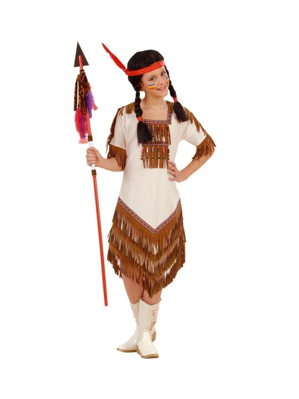 Déguisement Indienne beige, fille (robe asymétrique)