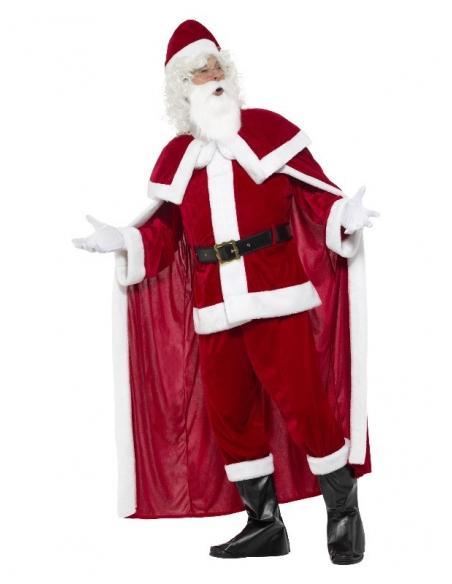 Déguisement Père Noël Deluxe (pantalon, veste, cape, ceinture, sur-bottes, gants, barbe et bonnet)