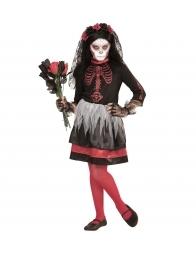 Déguisement Dia De Los Muertos, fille rouge et noir (robe, voile fleuri)