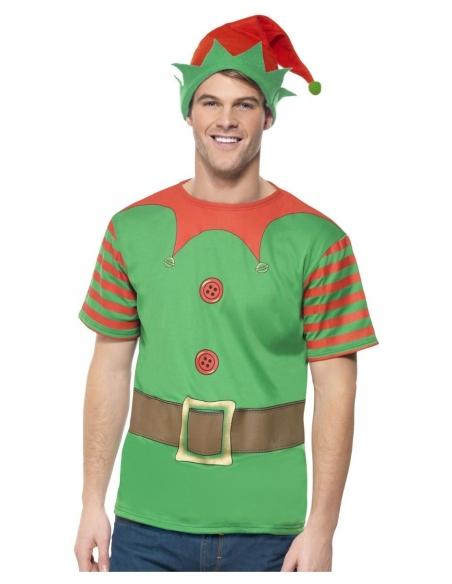Déguisement Elfe de Noël Vert Adulte (tee-shirt, bonnet)