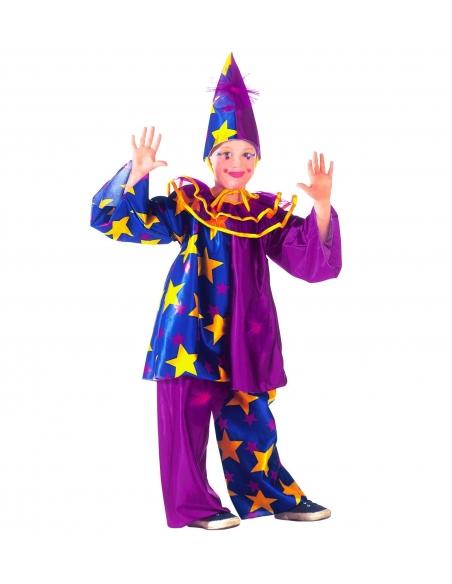 Costume Enfant Clown Star (haut, collier, pantalon et chapeau)
